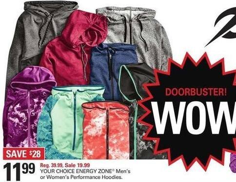 Shopko Black Friday: Energy Zone Men's or Women's Performance Hoodies, Select Styles for $11.99