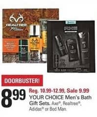 Shopko Black Friday: Men's Bath Sets, Including Axe, Realtree, Adidas or Bod Man, Select Styles for $8.99