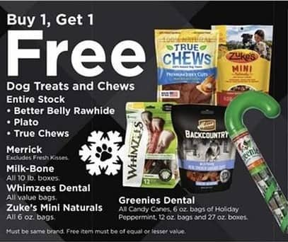 Petco Black Friday: Dog Treats and Chews: True Chews, Greenies Dental, Milk-Bone, Better Belly Rawhide and More - B1G1 Free