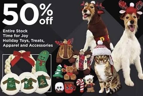 Petco Black Friday: Entire Stock Time for Joy Holiday Toys, Treats, Apparel and Accessories - 50% Off