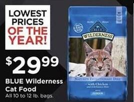 Petco Black Friday: Blue Wilderness Cat Food 10 - 12 lb Bags for $29.99
