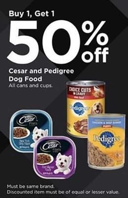 Petco Black Friday: Cesar and Pedigree Dog Food Cans and Cups - B1G1 50% Off