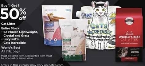 Petco Black Friday: Entire Stock: So Phresh Lightweight, Crystal and Grass Cat Litter, Lucy's Pet's Cats Incredible or World's Best 7 lb Bags - B1G1 50% Off