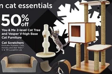 Petco Black Friday: You & Me 2-Level Cat Tree and Vesper V-High Base Cat Furniture and Cat Scratchers - 50% Off