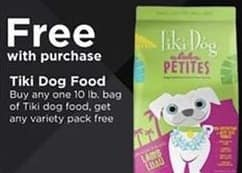 Petco Black Friday: Tiki Dog Food: Buy Any One 10 lb Bag, Get Any Variety Pack for Free