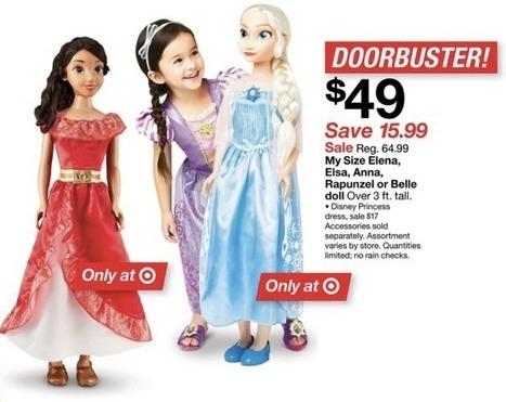Target Black Friday: My Size Elena, Elsa, Anna, Rapunzel or Belle Doll for $49.00