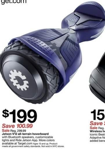 Target Black Friday: Jetson V12 All-Terrain Hoverboard with Bluetooth Speakers for $199.00
