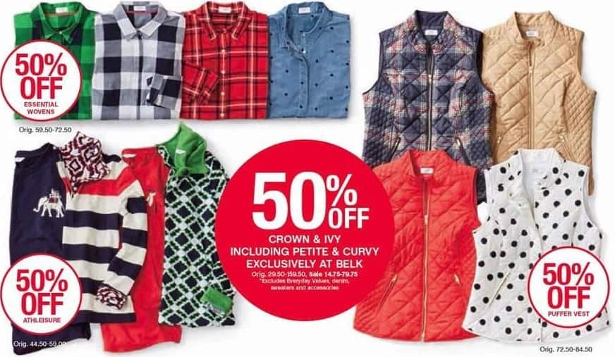 Belk Black Friday: Crown & Ivy Apparel, Select Styles, Includes Petite and Curvy - 50% Off