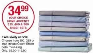 Belk Black Friday: Home Accents 300, 325 or 400 Thread Count Sheet Sets, Twin - King for $34.99