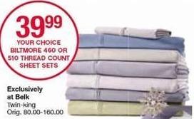 Belk Black Friday: Biltmore 460 or 510 Thread Count Sheet Sets, Twin - King for $39.99