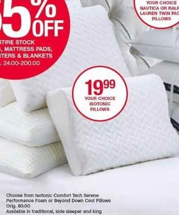 Belk Black Friday: Isotonic Pillows: Comfort Tech Serene Performance Foam or Beyond Down Cool Pillows for $19.99
