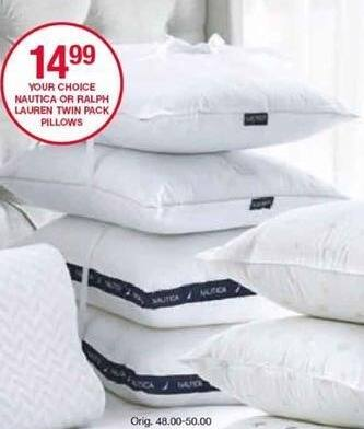 Belk Black Friday: Nautica or Ralph Lauren Twin Pack Pillows for $14.99