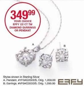 Belk Black Friday: Effy 1/2 ct tw Diamond Earrings or Pendant for $349.99