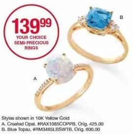 Belk Black Friday: Blue Topaz or Created Opal Rings in 10K Yellow Gold for $139.99