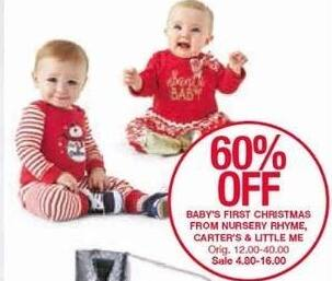 Belk Black Friday: Babies First Christmas Apparel From Carter's, Nursery Rhyme and Little Me - 60% Off