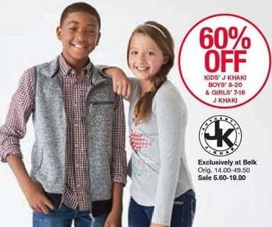 Belk Black Friday: J Khaki Boys' or Girls' Apparel, Select Styles - 60% Off