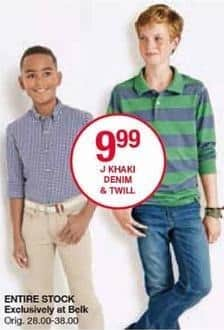 Belk Black Friday: J Khaki Boys' Denim and Twill Pants for $9.99