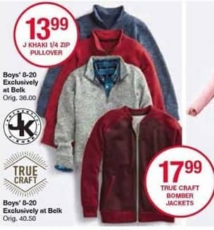 Belk Black Friday: J Khaki Boys' 1/4 Zip Pullover for $13.99
