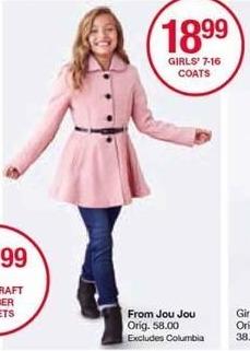 Belk Black Friday: Jou Jou Girls' Coats, Select Styles for $18.99