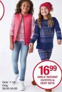 Belk Black Friday: Girls' Instant Outfits & Vest Sets, Select Styles for $16.99