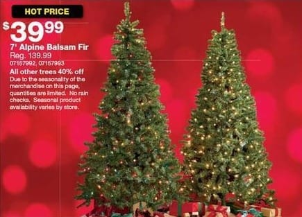 Sears Black Friday: 7-ft Alpine Balsam Fir Christmas Tree for $39.99