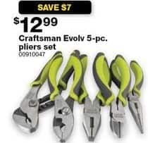 Sears Black Friday: Craftsman Evolv 5-pc Pliers Set for $12.99