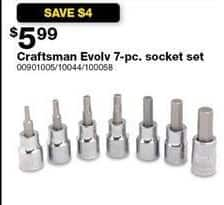 Sears Black Friday: Craftsman Evolv 7-pc Socket Set for $5.99