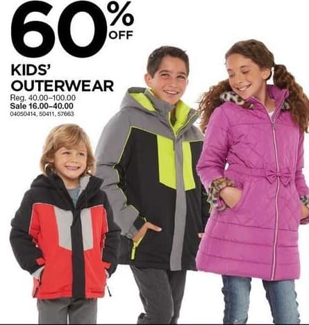 Sears Black Friday: Kids' Outerwear, Select Styles - 60% Off