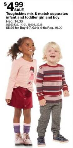 Sears Black Friday: Toughskins Infant and Toddler Mix & Match Separates for $4.99