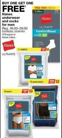 Sears Black Friday: Hanes Men's Underwear and Socks, Select Styles - B1G1 Free