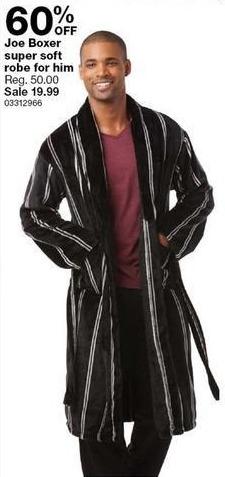 Sears Black Friday: Joe Boxer Men's Super Soft Robe - 60% Off
