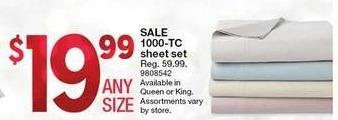 Kmart Black Friday: 1000-TC Sheet Set, King or Queen for $19.99