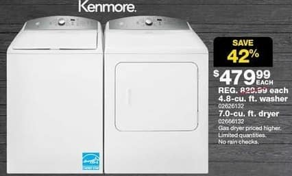Sears Black Friday: Kenmore 4.8 cu ft Top Load Washer (26132) for $479.99