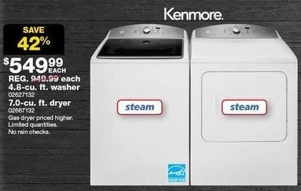 Sears Black Friday: Kenmore 7.0 cu ft Electric Dryer - White (67132) for $549.99