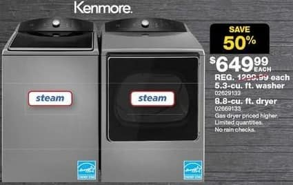Sears Black Friday: Kenmore 4.3 cu ft Top Load Washer w/Triple Action Impeller - Metallic (29133) for $649.99