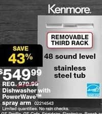 Sears Black Friday: Kenmore Dishwasher with 3rd Rack/Power Wave Spray Arm and Stainless Steel Tub (14543) for $549.99