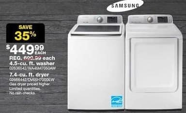 Sears Black Friday: Samsung 4.5 cu ft Top Load Washer (WA45M7050AW) for $449.99