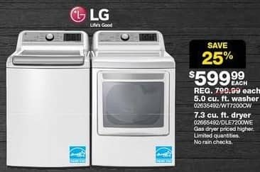 Sears Black Friday: LG 7.3 cu ft Electric Dryer (DLE7200WE) for $599.99