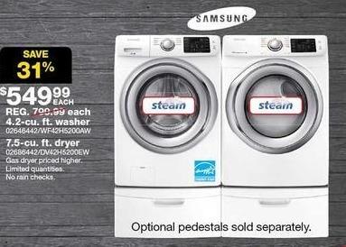 Sears Black Friday: Samsung 7.5 cu ft Electric Dryer (DV42H5200EW) for $549.99