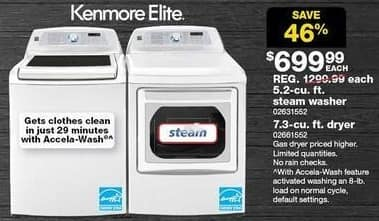 Sears Black Friday: Kenmore Elite 7.3 cu ft Electric Dryer w/Dual Opening Door (61552) for $699.99
