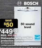 Sears Black Friday: Bosch Dishwasher with Overflow Protection (SHE3AR72UC) + Free Installation via Mail-In Rebate for $449.99