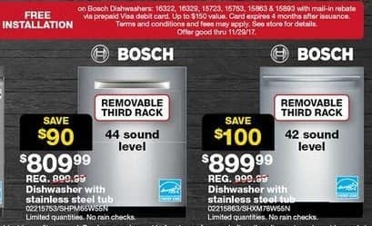 "Sears Black Friday: Bosch 24"" Dishwasher with Stainless Steel Tub (SHPM65W55N) for $809.99"