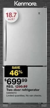 "Sears Black Friday: Kenmore 18.7"" Bottom Freezer Refrigerator (69313) for $699.99"