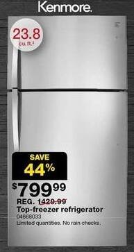 "Sears Black Friday: Kenmore 23.8"" Top-Freezer Refrigerator (68033) for $799.99"
