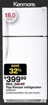 "Sears Black Friday: Kenmore 18.0"" Top-Freezer Refrigerator (60412) for $399.99"