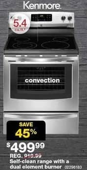 Sears Black Friday: Kenmore 5.4 cu ft Self-Clean Electric Range with Dual Element Burner and Convection (96183) for $499.99