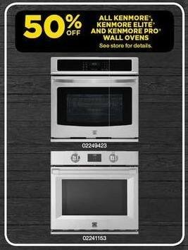 Sears Black Friday: All Kenmore, Kenmore Elite and Kenmore Pro Wall Ovens - 50% Off