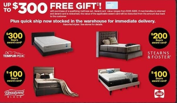 Sears Black Friday: Sears Award Card w/Purchase of Select Mattress and Foundation Sets from Tempur-Pedic, Sealy and More - $25-$300 Award Card