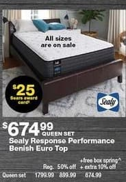 Sears Black Friday: Sealy Response Performance Benish Euro Top Queen Mattress Set + $25 Sears Award Card for $674.99
