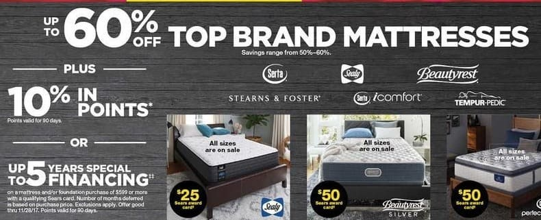Sears Black Friday Mattresses From Serta Sealy Stearns Foster